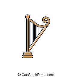 ハープ, ひも, いっぱいになりなさい, 道具, 線, 音, メロディー, スタイル, 音楽