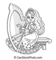 ハープ, 遊び, 白い背景, 映像, 着色, 概説された, 美しい, 王女, ケルト, 本