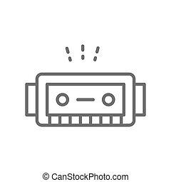 ハーモニカ, 線, 音楽, icon., 道具