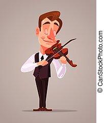 バイオリン奏者, ベクトル, music., 人, 遊び, 漫画, 平ら, イラスト, 特徴