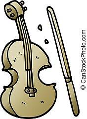 バイオリン, いたずら書き, 漫画, 弓