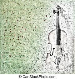 バイオリン, スケッチ, 古い, 抽象的, 背景