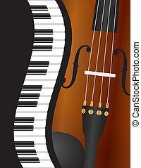 バイオリン, ピアノ, 波状, ボーダー, イラスト