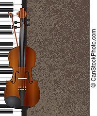 バイオリン, ピアノ, 背景, イラスト
