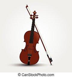 バイオリン, ブラウン, 影, 弓
