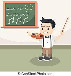 バイオリン, プレーしなさい, デザイン, 学生, イラスト
