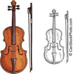 バイオリン, ベクトル, 弓, ポスター