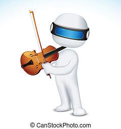 バイオリン, ベクトル, 遊び, 人, 3d