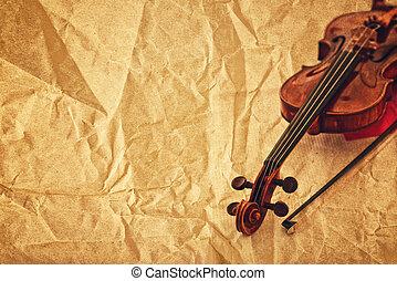 バイオリン, ペーパー, グランジ, 背景, クラシック
