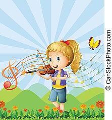 バイオリン, 女の子, 遊び, 彼女, 丘の上