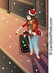 バイオリン, 女の子, 遊び