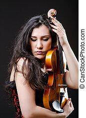 バイオリン, 女性, に対して, 背景, プレーヤー