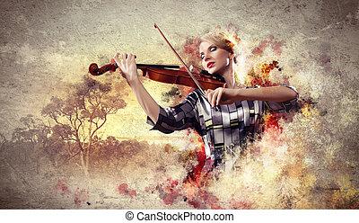 バイオリン, 女, 遊び, 素晴らしい