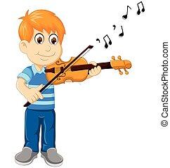 バイオリン, 漫画, 男の子, 遊び, 面白い