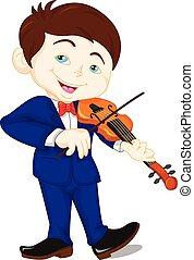 バイオリン, 男の子, 遊び, かわいい