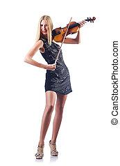 バイオリン, 白, 女, 若い, 遊び