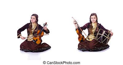バイオリン, 白, 女, 遊び