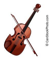 バイオリン, 白, 隔離された, イラスト