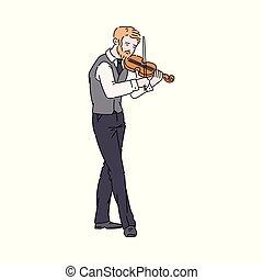 バイオリン, 白, 隔離された, 遊び, 男図解, 漫画, -, 背景, ベクトル