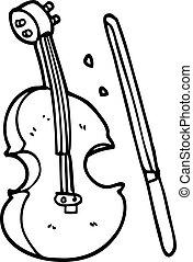 バイオリン, 線画, 漫画, 弓