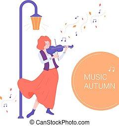 バイオリン, 遊び, 音楽家, かわいい 女