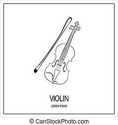 バイオリン, 隔離された, アイコン