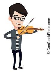 バイオリン, 音楽家, ベクトル, 遊び, illustration.