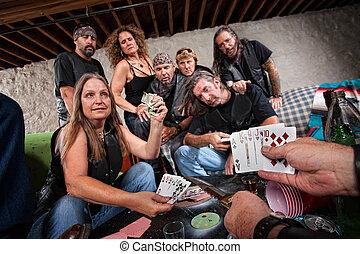 バイカー, ギャング, 女性, ショー, 彼女, カード