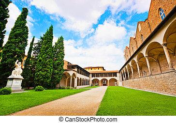 バシリカ, イタリア, ∥ディ∥, croce, 中庭, 有名, santa, フィレンツェ