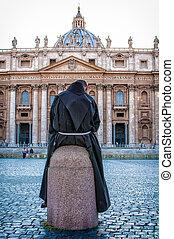バシリカ, ピーター, st. 。, ローマ, 修道士, 光景