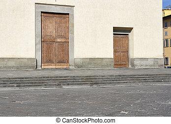 バシリカ, 神聖, ドア, ファサド, フィレンツェ, 精神
