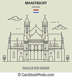 バシリカ, maastricht, servatius, 聖者, ランドマーク, netherlands., アイコン