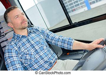 バスの運転手, 集中される, 上に, 運転