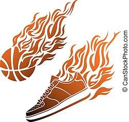 バスケットボールの色, ボール, ベクトル, スニーカー, 炎, アイコン