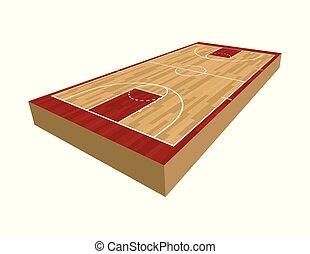 バスケットボールコート, イラスト, 3d