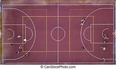 バスケットボールコート, 厳しく, スポーツ, プレーヤー, ゲーム, ball., の上, drone., basketball., 光景