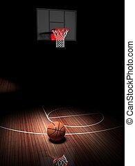 バスケットボールコート, 床, 木製である, たが, ボール