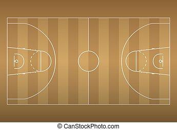 バスケットボールコート, illustration., top., ベクトル, eps10