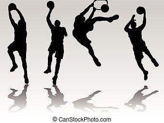 バスケットボール選手, 影, シルエット