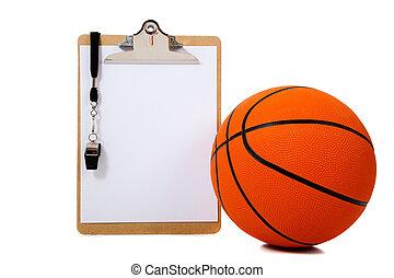 バスケットボール, クリップボード, 白
