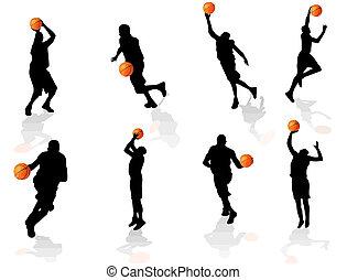 バスケットボール, シルエット, プレーヤー