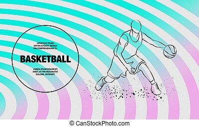 バスケットボール, スポーツ, ball., プレーヤー, アウトライン, illustration., ベクトル