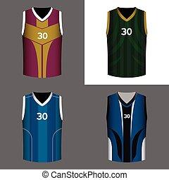バスケットボール, セット, シャツ