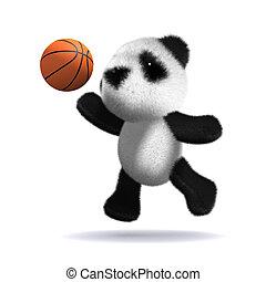 バスケットボール, プレーする, 熊, 赤ん坊, パンダ, 3d