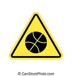 バスケットボール, 三角形, 危険, 注意, シンボル。, 危険標識, yellow., ゲームボール, 警告, 道