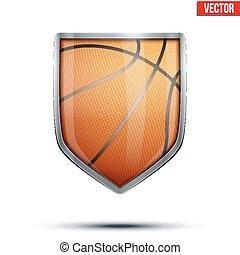 バスケットボール, 保護, 内側。, 明るい, ボール, vector.