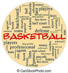 バスケットボール, 単語, ラウンド, 雲