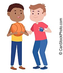 バスケットボール, 友人, 遊び, 男性, 若い