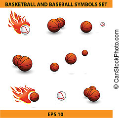 バスケットボール, 大きい, ボール, セット, 野球, スポーツ