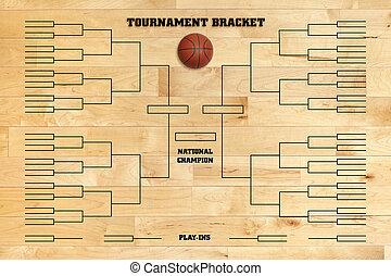 バスケットボール, 床, ジム, トーナメント, 木, ブラケット